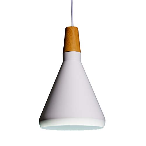 Lámpara de Techo de Aluminio, Lámpara Decorativa Colgante, acabado Mate Impecable, Colores Neutros, Moderno, Minimalista, Diseño Nórdico - 18x105cm, Blanca
