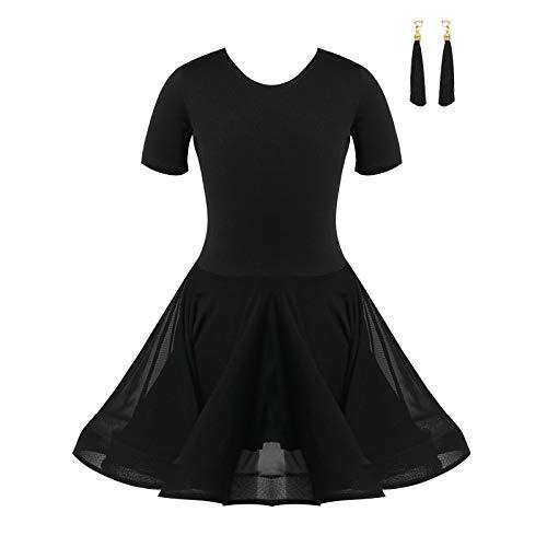Agoky Vestido de Patinaje Artstico Lentejuelas para Nia Maillot de Ballet Manga Larga/sin Manga Leotardo de Danza Gimnasia Rtmica con Falda Disfraz Bailarina Negro C 3-4 aos