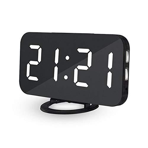 LKU wekker spiegel wekker digitale LED-klok USB-telefoon opladen sluimer automatische dimbare klok, wit