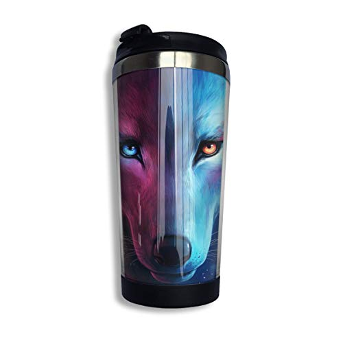 Vacuum Thermos Keeps Drinks Hot/Cold, Diamond Art Blue And Purple Galaxy Tribal Wolf Travel Mug With Spill Proof Lid, Stainless Steel Double Wall Insulated Coffee Cups for Home & Office
