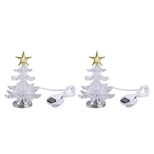 Mobestech 2pcs Christmas Tree Night Light USB Acrylic Light Up Christmas Tree Star Tree Top Tabletop Lights for Christmas Decor Ornaments
