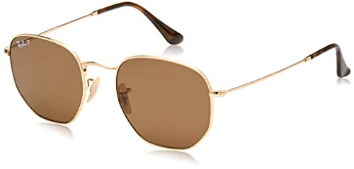 Ray-Ban RB3548N Hexagonal Flat Lenses Sunglasses, Gold/Polarized Crystal Brown, 51 mm