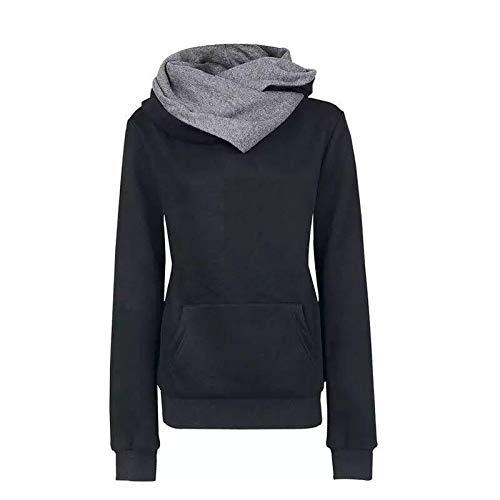 Sudaderas Jersey Sweater Sudadera con Capucha Y Bolsillo con Letras Bordadas para Mujer XL Negro