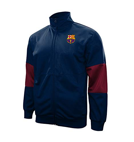 Icon Sports FC Barcelona Adult Full-Zip Touchline Track Jacket (Navy, Large)