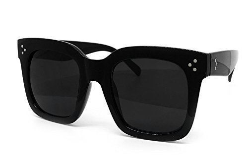 O2 Eyewear 1762 Premium Oversize XXL Women Men Havana Tilda Shadow Style Fashion Sunglasses (SOLID BLACK, 56)