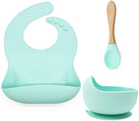 Silicone Baby Feeding Sets Baby Feeding Utensils Silicone Baby Bib Silicone Suction Bowl Training product image