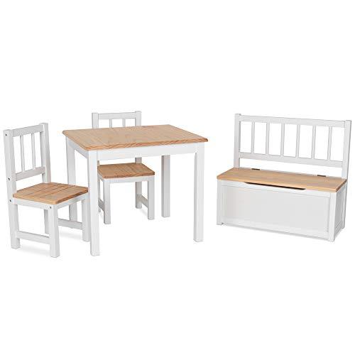 IB-Style - Salottino per Bambini Noa   3 Combinazioni   4 Pezzi: Set Composto da Tavolo per Bambini, 2 sedie e cassapanca