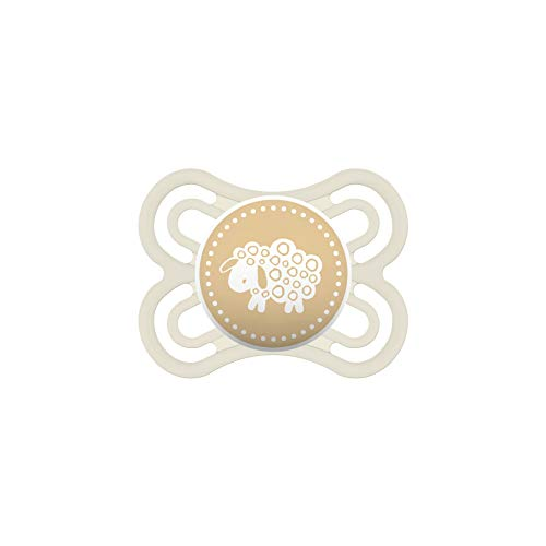 MAM Perfect Schnuller, fördert eine gesunde Zahn- und Kieferentwicklung, Baby Schnuller aus speziellem MAM SkinSoft Silikon mit Schnullerbox, 0 - 6 Monate, gelb