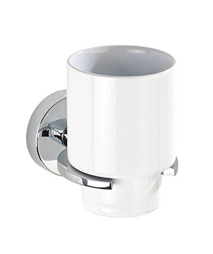 Wenko 22316100 Vacuum-Loc   Capri Zahnputzbecher-/ Zahnbürstenhalter, für Zahnbürste und Zahnpasta, Befestigen ohne bohren, Zinkdruckguss, 8 x 10 x 12,5 cm, Chrom