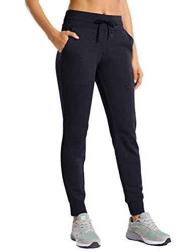 CRZ YOGA Women's Cotton Drawstring Sweatpants Elastic Waist Jogger Workout Jogging Thick Pants with Pockets Black XX-Small