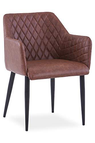 SalesFever Esszimmer-Stuhl Wallace   Design Polsterstuhl mit Armlehnen   Bezug Kunstleder Hellbraun   Gestell Metall schwarz   Elegantes Rautenmuster