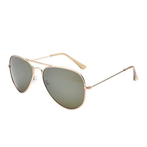 JM Gafas de Sol Retro de Espejo Aviador Lentes Teñido Brillantes Anteojos Para Mujer Hombre UV400 (Dorado/G15)