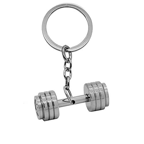 tumundo Schlüssel-Anhänger Schlüsselring Autoschlüssel Schlüsselbund Hantel Gewicht Sport Fitness Gewichtheben Edelstahl, Variante:silbern