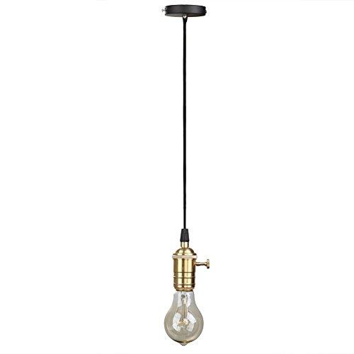 Splink Vintage Lampe Suspendue Support Douille Avec Interrupteur en Cuivre Laiton pour Ampoule E27 Câble 1 Mètre Décoration Maison Café Bar