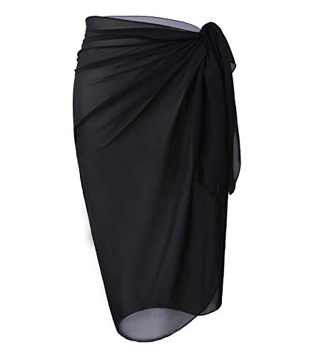 LIENRIDY Women's Swimwear Chiffon Cover up Beach Sarong Swimsuit Wrap Black Middle S-M