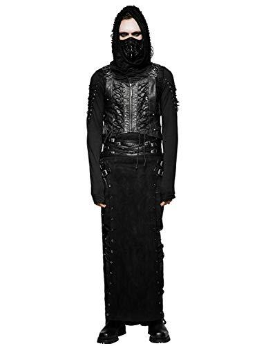 Punk Rave Gothic Herren Schwarz Retro Split PU Leder Kostüm Cosplay Langer Rock L-XL