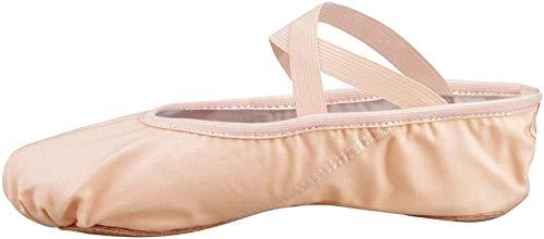 Scarpette da danza, da mezza punta, in tela, suola spezzata, varie misure per bambini e adulti rosa EU 31