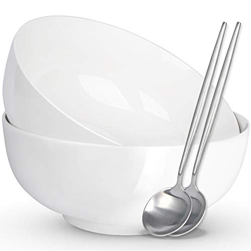 (4 PCS) Large Serving Bowls for Parties, 8 Inch 2 Quart 60 oz Ceramic Bowls for Salad, Fruit, Noodle, Pho, Soup and Chips, Microwave Safe, White (2 Porcelain Bowls with 2 Stainless Steel Spoons)