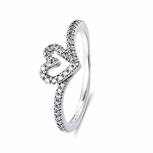 CHICBUY 2021 regalo del día de San Valentín brillante anillo de corazón de hueso de deseos para las mujeres 925 plata DIY se adapta a pulseras originales Pandora encanto joyería de moda (54 #)
