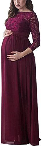 Bowanadacles Robe de grossesse pour femme Maxi Robe de maternité à manches longues avec dentelle Robe pour allaitement Photographie Cérémonie élégante - Rouge - M