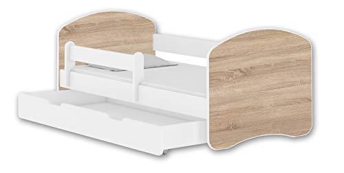 Jugendbett Kinderbett mit einer Schublade mit Rausfallschutz und Matratze Weiß ACMA II 140 160 180 (140x70 cm + Schublade, Weiß - Eiche Sonoma)
