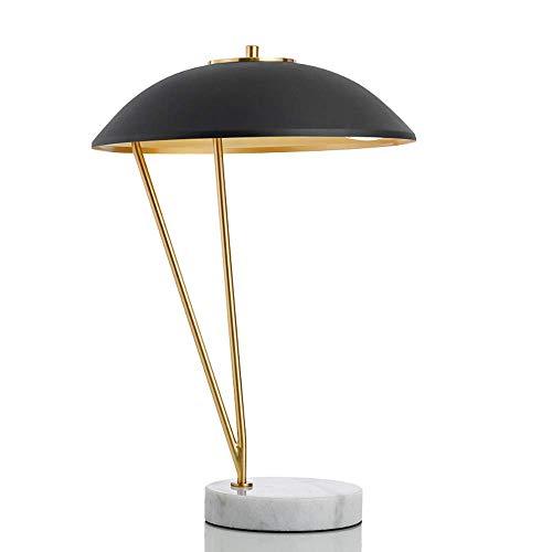 Yilingqi-1 woonkamer-tafellamp nachtlampje LED oogbeschermlamp smeedijzeren lampenkap marmeren lamp houder A + (kleur: warm licht/wit licht)