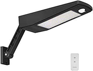 Outdoor Solar LED Wall Light IP65 Waterproof Area Security Night Lighting Wireless Dusk to Dawn Motion Sensor Lamp Remote Controlled 4 Working Modes for Garden, Fence, Patio, Yard, 900LM 6000K