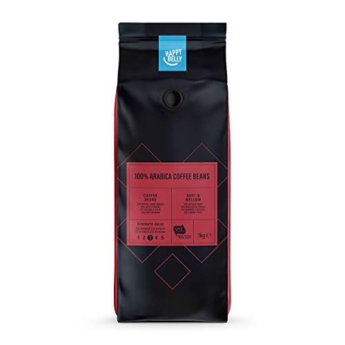Amazon-Marke: Happy Belly Röstkaffee, ganze Bohnen 100% Arabica 2 kg (2 x 1 kg)