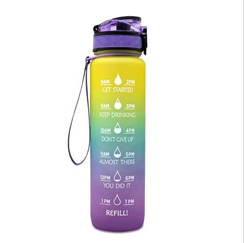 Botella de agua de 1 litro con pajita, a prueba de fugas, sin BPA, con marcas de tiempo, botella de agua motivacional con tiempos para beber (amarillo+azul+morado)