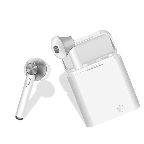 Bluetooth-Headset, Kopfhörer Bluetooth Headset Sport Headset,Kabellose In-Ear-Ohrhörer mit Tragbarer Ladekästchen für Den Meisten-Smartphone (Weiß)