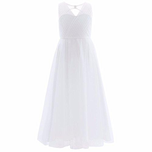 FEESHOW Big Girls Flower Junior Bridesmaid Wedding Gown Party Maxi Long Flowy Dress White 14