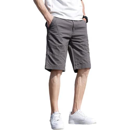 Katenyl Pantalones Cortos con Costura de Personalidad para Hombre, Pantalones Cortos Rectos Informales de Todo fósforo Sueltos, Finos, cómodos, Sencillos y cómodos 31W