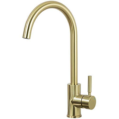 GAPPO Einhebelmischer für die Küche, Bad, ohne Blei, hoher Bogen, Einhandmischbatterie, gold