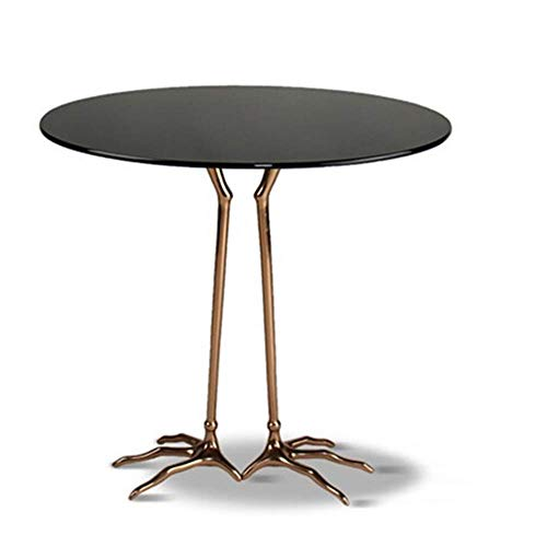 JINKEBIN Folding Table Coffee Table Classic Side Table Modern Round Tempered Glass Coffee Table With Bird's Paw Table Legs In Living Room For Working Writing Home Furniture Sofa Side End Table