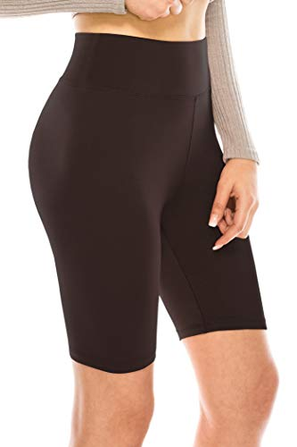 ALWAYS Bike Shorts Women Leggings - High Waisted Buttery Premium Soft Stretch Workout Yoga Running Gym Pants Brown One Size