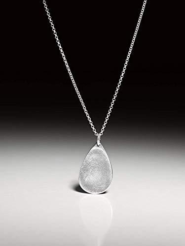 Silberkette mit einem Fingerprint-Kettenanhänger in Tropfenform, groß