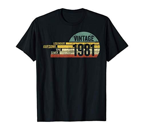 40 Year Old Legendary Retro Vintage Awesome Birthday 1981 Camiseta