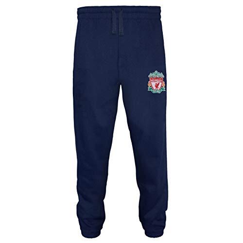 Liverpool FC - Herren Fleece-Jogginghose - Offizielles Merchandise - Geschenk für Fußballfans - Marineblau - L