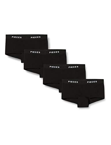 PIECES Damen PCLOGO Lady 4 Pack SOLID NOOS BC Boxershorts, Black, M