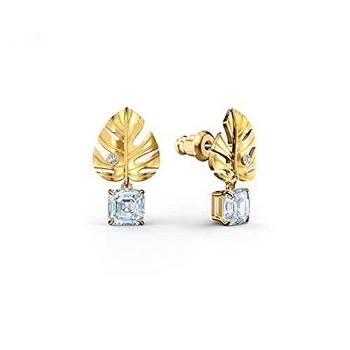 Gymqian Pendientes de Hojas de Estilo Tropical Mujeres Elegante Palma Tung Hoja Artificial Diamante Pendientes Mujeres Apto para Compras, Fiestas Y Viajes Decoraciones/Yellow gold