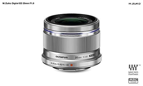 Objetivo Olympus M.Zuiko Digital 25 mm F1.8, Longitud Focal Fija rápida, Apto para Todas Las cámaras MFT (Modelos Olympus OM-D & Pen, Serie G de Panasonic), Plata