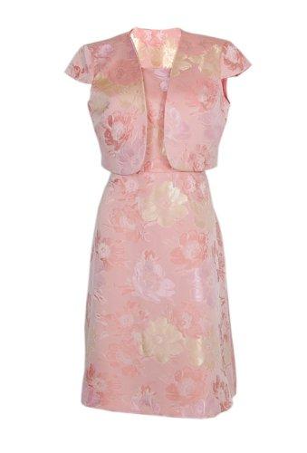 Nipon Boutique Suit A-Line Dress & Bolero Cap Sleeve Jacket Peach Multi (6)