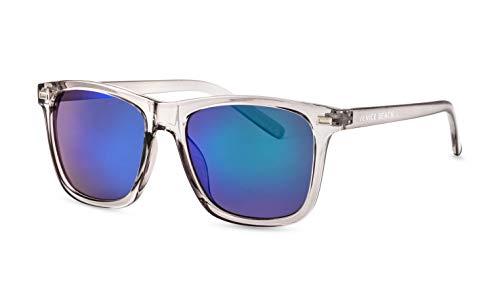 Venice Beach Unisex Sonnenbrille/Flat-Top Sonnenbrille mit angesagter transparenter Fassung für Damen & Herren/Blau verspiegelt F2503201
