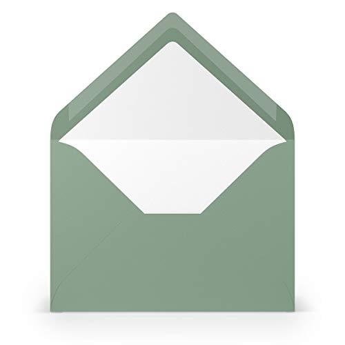 PAPERADO 75 Briefumschläge DIN B6 Eucalyptus gerippt - 100 g/m² Kuvert Ohne Fenster 17,8 x 12,5 cm - Umschläge mit Nassklebung spitze Klappe
