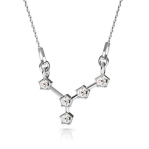 Beforia Paris – Collar – signo del zodiaco – Cáncer – Cristal – con cadena de plata de ley 925 con colgante Swarovski Elements, regalo, collar con estuche de joyería PIN/75