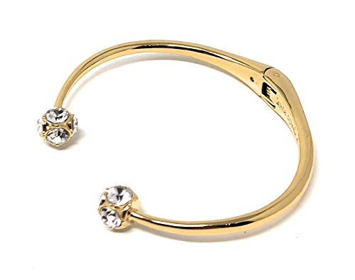 Kate Spade Lady Marmalade Open Cuff Bracelet Gold Clear Crystals