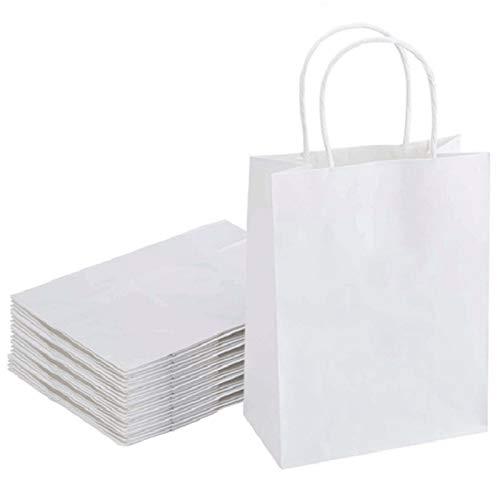 Borse Carta Regalo da Festa con Maniglia Sacchetti di Carta Bianca 20 PCS Buste Regalo Sacchetti per Regali per bomboniere,imballaggio,Cottura al Forno,Shopping,Vendita al Dettaglio(21 * 8 * 26.5cm)