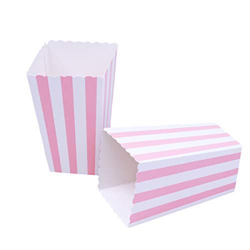 NUOLUX Popcorn Box,Scatole di Popcorn, Modello di Banda Decorativi per Il Partito, 12 x 7CM, 24pcs (Rosa)