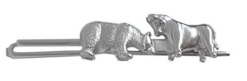 Unbekannt Bulle Bär Krawattennadel Krawattenhalter silbern glänzend m.i. Germany + Silberbox