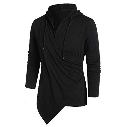 Sannysis Fashion Gothic Herren Schwarz Wickel Shirt Langarmshirt Mode Steampunk Männer Lässig Tops Kapuzenpullover Hoodie Sweater Pullover Sweatshirt